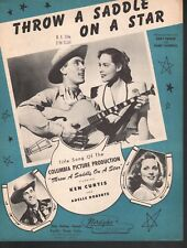 Throw A Saddle on A Star 1946 Ken Curtis (Festus from Gunsmoke ) Sheet Music