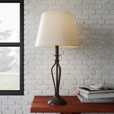 Bronze Table Lamp Accent Lighting with Natural Linen...