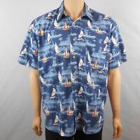 Munsingwear Mens Cotton Dark Blue Short Sleeve Hawaiian Sailboat Shirt L Large