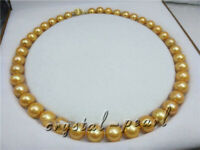 "golden 18"" AAA+ 11-10MM SOUTH SEA NATURAL PEARL NECKLACE 14K YELLOW GOLD CLASP"