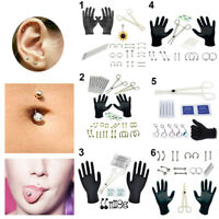 Professional Body Piercing Tool Kit Ear Nose Navel Eyebrow Lip Nose Needles Set-