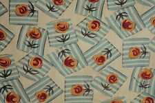 Art Deco fabric Vintage French cotton material w/ Geometric floral blue pattern