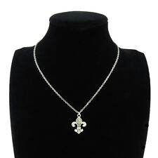 Silver Alloy Totem Fleur-De-Lis Pendant Short Chain Collar Necklace Girls 18""