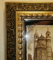 Green Tree Gallery 5x7 Picture Frame Antique Gold & Black Solid Wood Ornate EC!