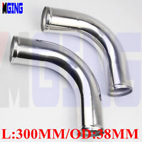 """2x Aluminum 38mm 1.5"""" inch 90Degree Elbow Turbo Intercooler Pipe Piping Tubing"""
