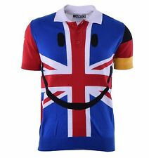 MOSCHINO COUTURE RUNWAY Knitted Flags Printed Smiley Polo Shirt Multicolor 04421