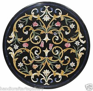 """34"""" Black Marble Dining Table Top Mosaic Marquetry Inlay Floral Art Decors H1414"""