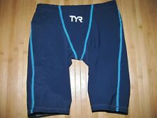TYR Swimsuit FINA JAMMER Size 28 Swim Suit Built In BRIEF LINER Navy BLUE