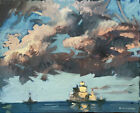 """Nautical Cloud Seascape Oil Painting Abstract 16""""x20"""" Original Signed on Canvas"""
