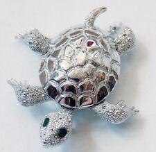 Silver Turtle Brooch Pin Green Rhinestone Eyes Textured & Detailed Vintage Vtg