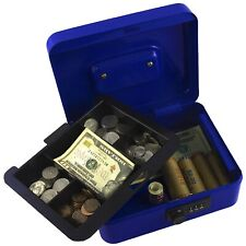 METAL CASH LOCK BOX WITH MONEY TRAY Security Jewelry Key Locking Coin Safe