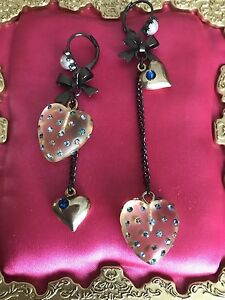 Betsey Johnson Snow Angel Clear Frosted Lucite Heart Blue Crystal Pearl Earrings