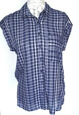 Next Womens Blouse Size 8 Shirt Blue and White Check Loose Fit