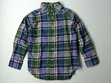 Boy Ralph Lauren Polo Blue Orange Green Plaid Dress Button Down L/S Shirt Size 4