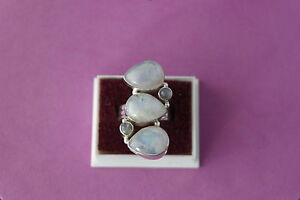 9.25 Silver Ring With 5 Moonstone  3.5 x 2 Cm.Wide 11.3 Grams Size  L - M 1/2