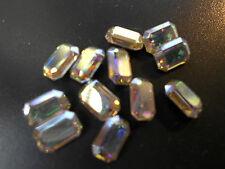Swarovski vintage 12 cristaux rectangle à sertir 4x6mm crystal ab
