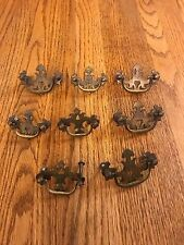 vtg victorian ornate brass dresser drawer handle pull LOT 8 PIECES