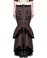 Punk Rave Fishtail Skirt Brown Pinstripe Steampunk Gothic Victorian VTG Pencil