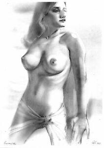 original drawing A3 150GZ art samovar Pastel female nude woman naked Signed 2021