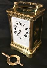* CHIMING Brass Carriage Mantel Clock Timepiece with Key  Working Order