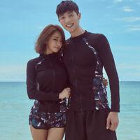Men Women Rash Guard Beach Long Sleeve Surf Swim Shirts + Shorts Set Swimsuit