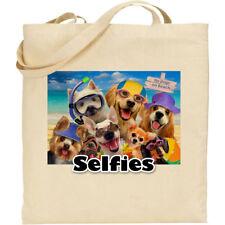 Dogs/Beach H Robinson Fun Selfie Image Reusable Cotton Shopping/Tote/Beach Bag