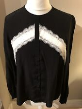 Lace Detail Top Size 12 M&S Black & Cream Long Sleeve