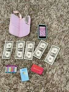 """American Girl Joss ID Wristlet Wallet Purse for 18"""" doll  Credit Cards and Money"""