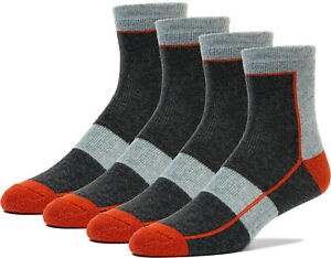 4 Pairs Premium Merino Wool Quarter-Ankle Hiking Outdoor Socks Designed in USA