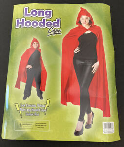 Adult Unisex Long Red Hooded Cape for HALLOWEEN - FREE POSTAGE