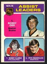 1975-76 OPC ORR/CLARKE/MAHOVLICH #209 ASSIST LEADERS EX-MT (REF 9105)
