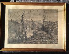 Emile NOIROT (1853-1924) Dessin Original Fusain Saint Maurice sur Loire Roanne