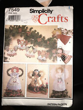 SIMPLICITY CRAFTS 7549 VINTAGE  ANGELS  - ORNAMENTS ANIMALS - NEW IN PACKAGE