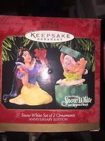 HALLMARK KEEPSAKE ORNAMENT 1997 SNOW WHITE AND THE SEVEN DWARFS SET OF 2  NIB