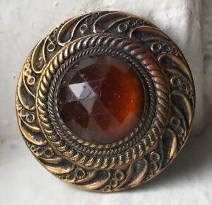 Antique Gay nineties JEWEL button~Brass~Golden amber glass stone~#06