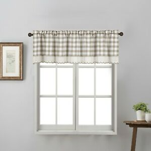 1 Piece Buffalo Check Plaid Gingham Crochet Trimmed Rod Pocket Window Valance