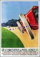 Circuit Di Milano 1922 Gran Premio Car Racing Vintage Poster Print Retro Style
