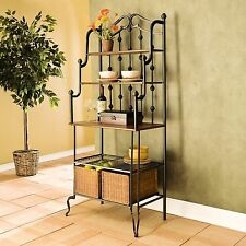 Country Baker's Rack Arch Top Kitchen Cabinet Furniture Storage Pantry Hutch New