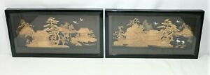Pair of Oriental Style Cork Dioramas. Fabric mounts, black frame  Thames Hospice