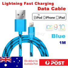iPhone 8 7 6s 5 Plus USB to Lightning Data Fast Charger Cable Braided Blue iOS10