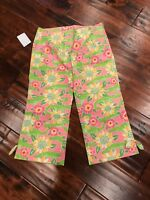 Lilly Pulitzer Pink & Green Alligator/Floral Print Cropped Pants  Size 0