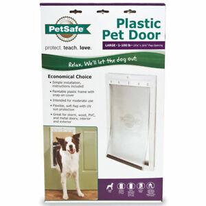 Petsafe Plastic Pet Door Large 1 - 100 Pounds NEW IN BOX Flap Opening Dog Cat