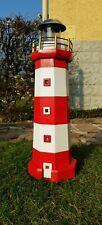 Leuchtturm, Gartendekoration mit Solarbeleuchtung, rot - weiß
