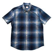 LEVI'S Blue Check Short Sleeve 100% Cotton Casual Shirt Size M