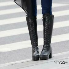 Women Lace Up Knee High Combat Boots Block Mid Chunky Heel Platform Knight Shoes
