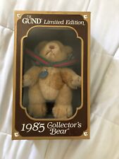 1985 Gund Collector's Bear with red & green bow tie. Mint condition Still in box