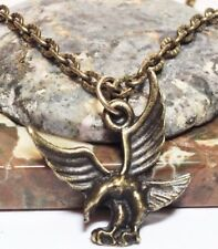 "EAGLE_Small Bronze Pendant on 18"" Chain Necklace_Bird Wings Native Bald USA_21N"