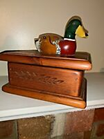 "Mallard Duck Decoy Treasure Box Chest Wooden Lidded UNIQUE One of a Kind 7"" X 8"""