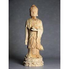 """Holzskulptur """"Bodhisattva der Ruhe"""" - chinesische Holzschnitzerei, Holzfigur"""