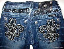 MISS ME Straight Denim Jeans Womens 25 Sequined FLEUR DE LIS Embroidered Pockets